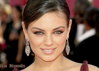 women, Mila Kunis, actress, celebrity, smiling, earrings, faces - desktop wallpaper