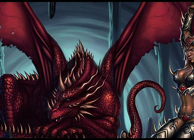 red, dragons, fantasy art - random desktop wallpaper