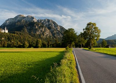 mountains, landscapes, nature, castles, roads - related desktop wallpaper