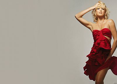 blondes, women, actress, Charlize Theron, red dress, simple background - desktop wallpaper