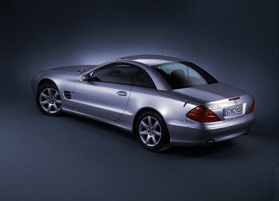 cars, silver, vehicles, Mercedes-Benz SL 350, Mercedes-Benz, rear angle view - random desktop wallpaper