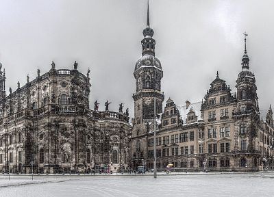 snow, cityscapes, Germany, sculptures, churches, Dresden, HDR photography - related desktop wallpaper