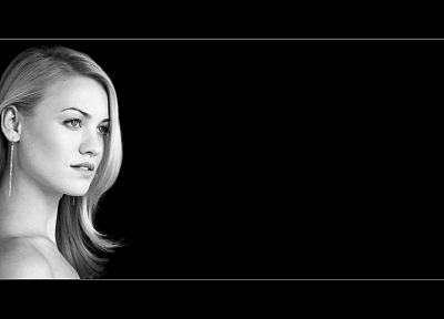 blondes, women, actress, Yvonne Strahovski, monochrome, black background - desktop wallpaper