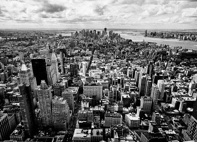 cityscapes, grayscale, skyscrapers - random desktop wallpaper