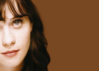women, Zooey Deschanel, simple background - related desktop wallpaper