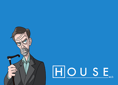 caricature, Gregory House, House M.D., blue background - random desktop wallpaper