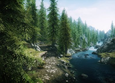 video games, landscapes, forests, rivers, The Elder Scrolls V: Skyrim - desktop wallpaper