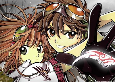 Sakura, Tsubasa Reservoir Chronicle, feathers, goggles, Syaoran - random desktop wallpaper