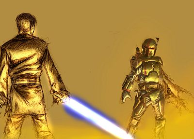 Star Wars, lightsabers, Jango Fett, Obi-Wan Kenobi - desktop wallpaper