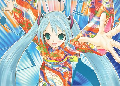 Vocaloid, Hatsune Miku, Japanese clothes - random desktop wallpaper