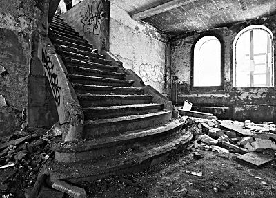 ruins, decay, stairways, grayscale, monochrome, old buildings - random desktop wallpaper