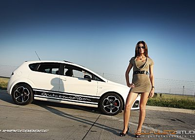 women, cars, Seat Leon, girls with cars, side view - random desktop wallpaper