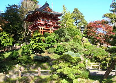 nature, architecture, Japanese, Japanese tea garden - random desktop wallpaper