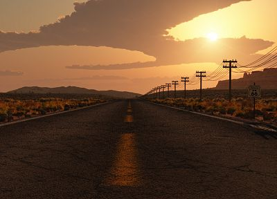 sunset, desert road - random desktop wallpaper