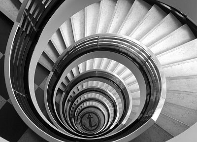 black and white, architecture, spiral, stairways, monochrome - related desktop wallpaper