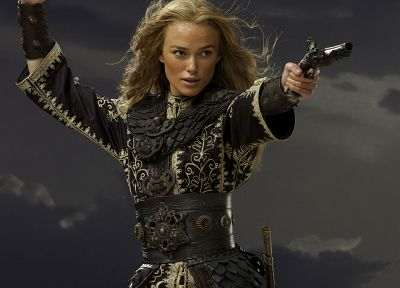 Keira Knightley, weapons, Pirates of the Caribbean, swords, Elizabeth Swann - desktop wallpaper