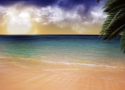 water, ocean, clouds, sand, trees, outdoors, palm trees, skyscapes, sea, beaches - related desktop wallpaper