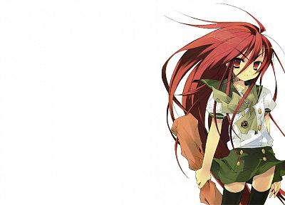 Shakugan no Shana, redheads, school uniforms, long hair, Shana, red eyes, thigh highs, Noiji Itou, simple background, anime girls - related desktop wallpaper