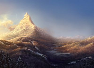 mountains, landscapes, winter, ski, artwork - desktop wallpaper