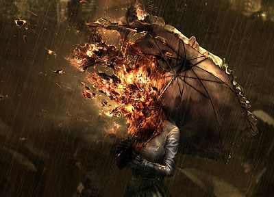 women, rain, fire, umbrellas - random desktop wallpaper