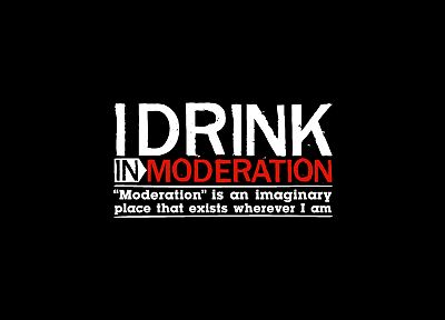 funny, typography, drinking, black background - desktop wallpaper