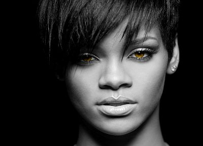 women, black people, Rihanna, celebrity, short hair, grayscale, singers, selective coloring - random desktop wallpaper
