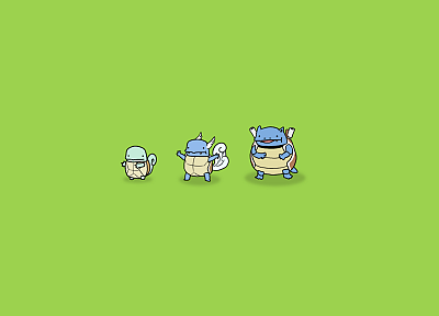 Pokemon, Wartortle, Squirtle, Blastoise, simple background, green background - related desktop wallpaper