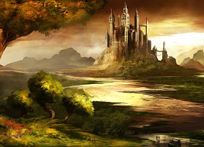 landscapes, castles, trees, Trine, rivers, skyscapes - related desktop wallpaper