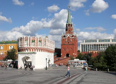 red, tower, Russia, Moscow, squares - desktop wallpaper