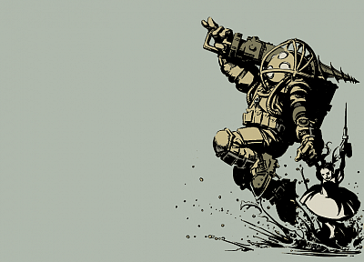 Big Daddy, Little Sister, BioShock, funny, simple background - related desktop wallpaper