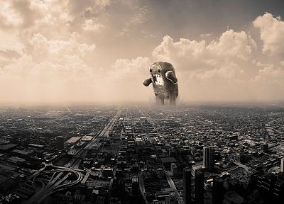clouds, cityscapes, Domo-kun, skyscapes - related desktop wallpaper