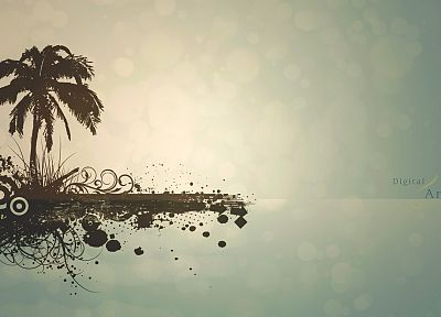 landscapes, minimalistic, palm trees, simplistic, white light, beaches - random desktop wallpaper