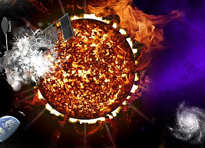 Sun, outer space, fire, satellite - random desktop wallpaper