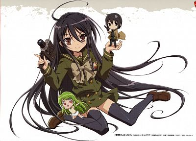 Shakugan no Shana, Shana, thigh highs, simple background, black hair - related desktop wallpaper