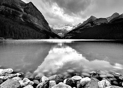 rocks, grayscale, monochrome, lakes - desktop wallpaper