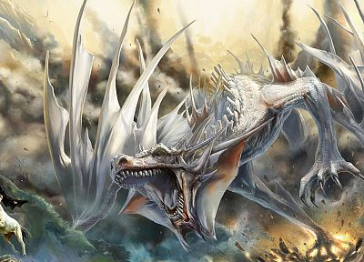 dragons, destruction, fantasy art, centaur - related desktop wallpaper