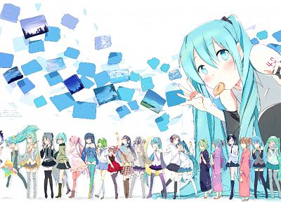 Vocaloid, Hatsune Miku, skirts, blue hair, lollipops, twintails - random desktop wallpaper