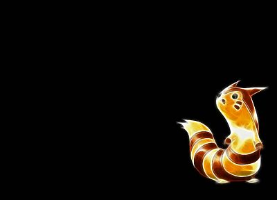 Pokemon, Furret, black background - desktop wallpaper