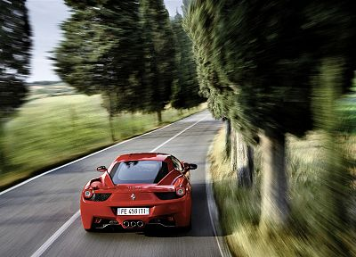cars, Ferrari, roads, vehicles, Ferrari 458 Italia - random desktop wallpaper