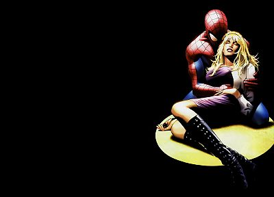 Spider-Man, Marvel Comics, Gwen Stacy, black background - related desktop wallpaper