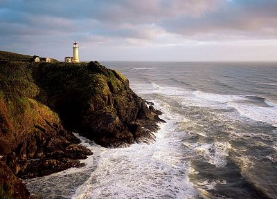 ocean, cliffs, lighthouses - popular desktop wallpaper