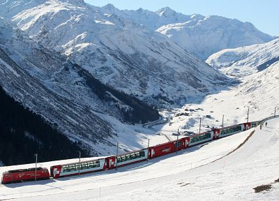 mountains, winter, snow, trains, Glacier Express - random desktop wallpaper
