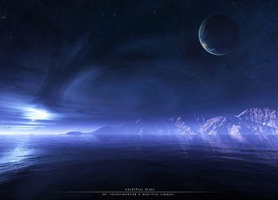 water, mountains, ocean, outer space, planets, skyscapes - desktop wallpaper