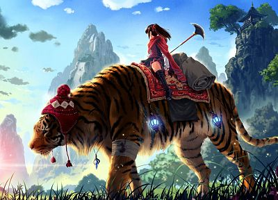 women, fantasy, tigers, 3D, blue skies - desktop wallpaper