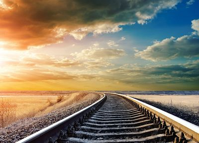 clouds, landscapes, nature, railroad tracks, railroads, skyscapes - related desktop wallpaper