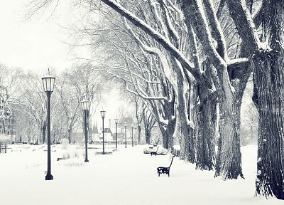 winter, snow, streets - desktop wallpaper