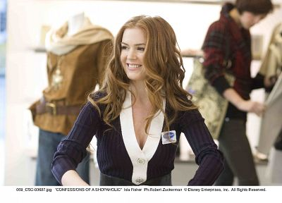 women, redheads, cleavage, Isla Fisher - random desktop wallpaper