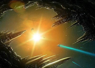 Sun, outer space, fantasy art, spaceships, science fiction, artwork, vehicles, cities - related desktop wallpaper