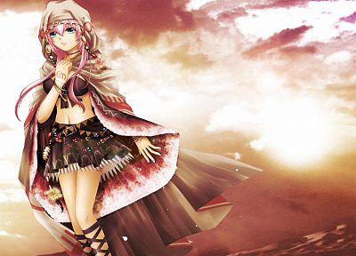 clouds, Vocaloid, bra, Megurine Luka, pink hair, underwear, anime girls - desktop wallpaper