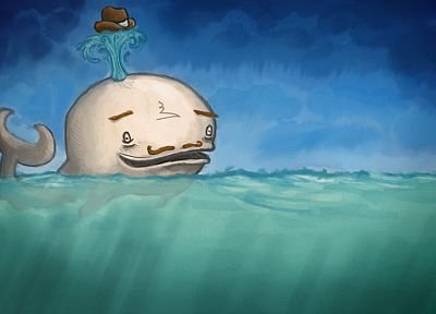 water, animals, fail, funny, whales, moustache, artwork, drawings, hats, anthropomorphism, sea - related desktop wallpaper